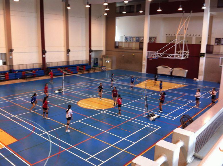 体育館。バスケットやバレーボールができる。